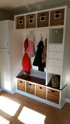 Newest Images Ikea hack mudroom bench. 3 kallax shelving units and kallax drawer inserts. Concepts The IKEA Kallax series Storage furniture is a vital element of any home. They give get and allow y Home Diy, Kallax Ikea, Ikea Bedroom, Horror Room, Interior, Ikea Furniture, Storage And Organization, Home Decor, Ikea