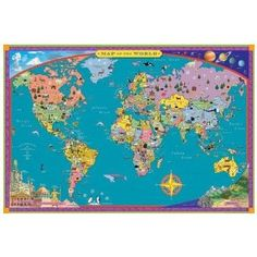 Great first map for younger children! Illustrations give a quick snapshot of different parts of the world. $21.15