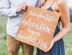 Pregnancy Announcement Calligraphy sign saying 'Our Greatest Adventure Begins' - Inspired by This
