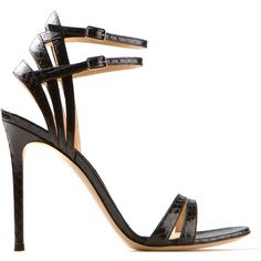 Gianvito Rossi Black Python High Heels Sandals ($460) ❤ liked on Polyvore featuring shoes, sandals, heels, sapatos, scarpe, black sandals, snakeskin sandals, snakeskin shoes, black shoes and buckle sandals