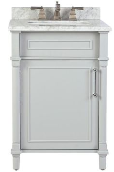 Home Decorators Collection Aberdeen 24 in. W x 20 in. D Bath Vanity in White  with Natural Marble Vanity Top in White