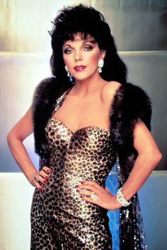 "An Eighties Joan Collins in ""Dynasty."" via @WWD paw print, hollywood stars, leopards, filmtv star, soap, joan collins dynasty, leopard prints, dynasti"