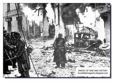 The 'scorched earth policy' was used both by the Germans and Russian during WW2. Here the German soldiers burn a town before retreating