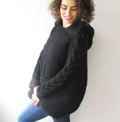 WINTER SALE 20% Plus Size Knitting Sweater Capalet with by afra