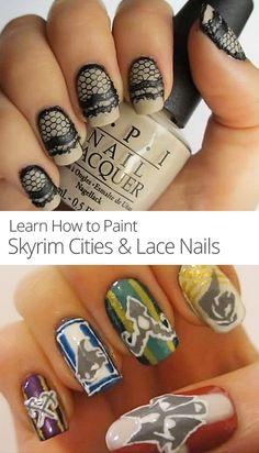 Skyrim Cities & Lace Nail Art