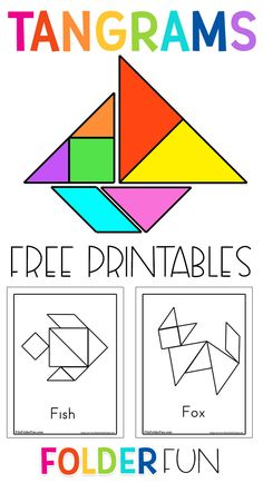 Free printable tangrams and tangram pattern cards. These activity sheets are great for preschool math learning centers. Students work on building different animals, objects and shapes. Preschool Learning Activities, Free Preschool, Preschool Printables, Learning Centers, Preschool Activity Sheets, Shape Activities, Steam Activities, Preschool Themes, Tangram Printable