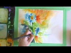 How to Paint in Watercolor: Fluid & Loose Cornflowers & Lilies Love the way she paints-km