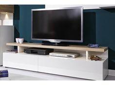 Arte-M Beam 2 door TV unit in white with sand oak details