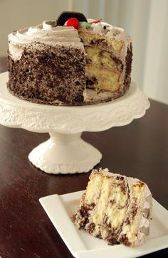 Marble cake with cookies and cream frosting