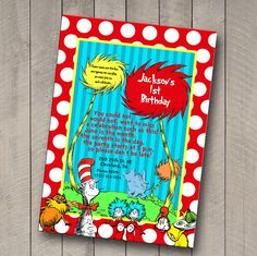 Dr. Seuss inspired birthday invitation/ by IndigoandIvoryDesign, $12.00
