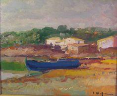 Eliseo Meifrén Roig. La barca azul, Port Lligat, Cadaqués, Girona. Óleo sobre tabla. Firmado. 36 x 44 cm. Colección particular.