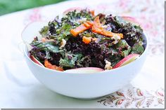 Purple Kale Salad with Creamy Apricot Ginger Dressing, Walnuts, and Apples from @choosingraw