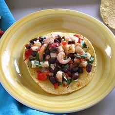 Black Bean, Jicama and Shrimp Tostadas with Avocado Creme