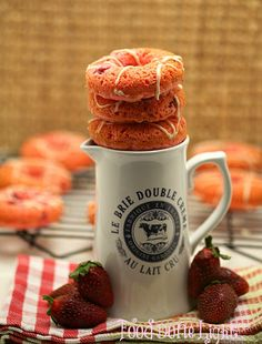 Have to make these.  Baked Strawberry Cake Donuts www.fooddonelight.com