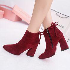 European Style Zipper Lace Pure Color Square Heel Boots - Gchoic.com #shoes #fashion #boots #popular #discount #cheap #under20 #warm #winter