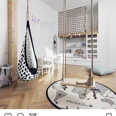 Multiple swings in a kids bed room add a nice playful style and outdoor feel. This is so bohemian. Multiple swings in a kids bed room add a nice playful style and outdoor feel. This is so bohemian.
