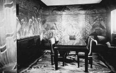 1920s Art Deco dining room, designed by the Atelier Martine, in the French liner Île de France, 1927, illustrated in Paul Frankl's New Dimensions: The Decorative Arts of Today in Words and Pictures (1928).