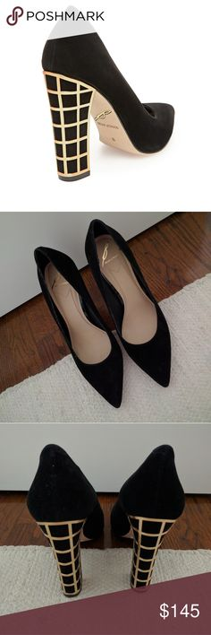 "Brian Atwood Otavia Suede Block Heel Pumps B Brian Atwood suede pointed toe pumps. New, without box. Never worn, just tried on. Size 9. Approx 4.25"" heel. Suede is black and heel is gold. B Brian Atwood Shoes Heels"