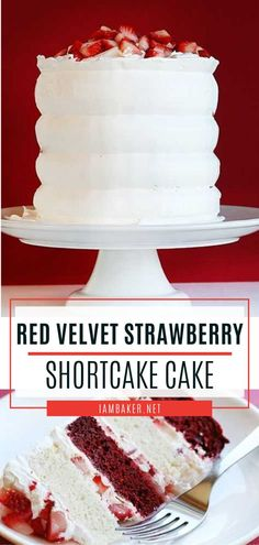 Red Velvet Strawberry Shortcake Cake is a fantastic spring season food! In this quick and easy recipe, rich and chocolatey red velvet pairs perfectly with the light whipped cream, airy white cake, and fresh berries. Pin this spring dessert idea for later! Delicious Cake Recipes, Best Cake Recipes, Yummy Cakes, Spring Desserts, Easy Desserts, Dessert Recipes, Italian Desserts, Party Recipes, Frosting Recipes