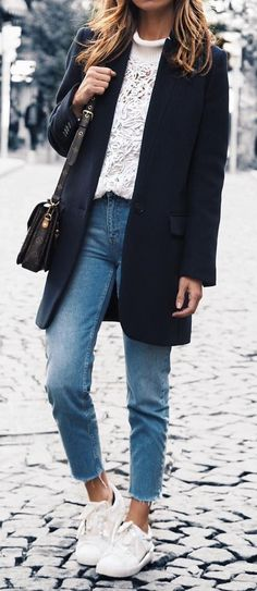 White Sweater // Black Coat // Jeans // White Sneakers                                                                             Source