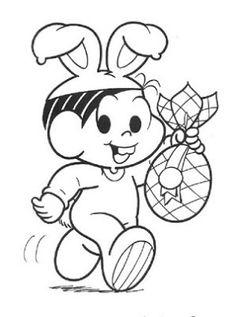 desenho Monica com Ovo de Páscoa, colorir Monica com Ovo de Páscoa