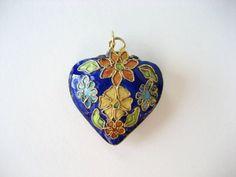 Vintage Cloisonne Heart Shaped Pendant Blue by BelleBloomVintage