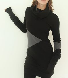 tunic dress cowl neckline extra long sleeves by joclothing on Etsy