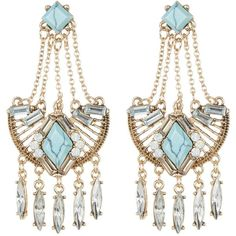 Natasha Accessories Crystal & Stone Detail Fringe Earrings ($15) ❤ liked on Polyvore featuring jewelry, earrings, turq, gold tone jewelry, fringe earrings, natasha jewelry, natasha earrings and crystal earrings