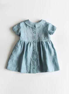Linen Dress Baby Dress Linen Baby Dress Toddler Dress Blue - April 27 2019 at Baby Girl Dresses, Baby Outfits, Kids Outfits, Kid Dresses, Vintage Baby Dresses, Dress Girl, Dress Clothes, Sewing Clothes, Toddler Outfits