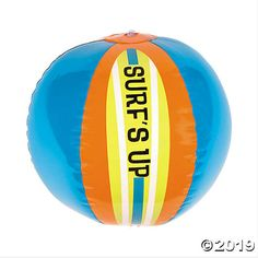 These Surfs Up Beach Balls are a great addition to any collection of beach party supplies. Perfect to use in or out of the pool, these beach balls come pre-printed with Surfs Up and make any summer pa Teen Beach Party, Beach Kids, Birthday Table, Boy Birthday Parties, Birthday Ideas, 8th Birthday, Open A Party, Luau Theme Party, Party Favors