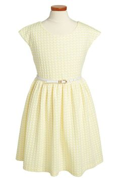 Love this pretty yellow cap sleeve jacquard dress.