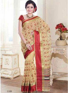 Dashing Cream And Red Border Work Tussar Silk Saree http://www.angelnx.com/featuredproduct