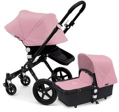 Bugaboo Cameleon 3 Stroller, Extendable Canopy 2015 All Black / Soft Pink