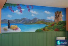 Muurschildering Sardinië pizzeria Il Monello