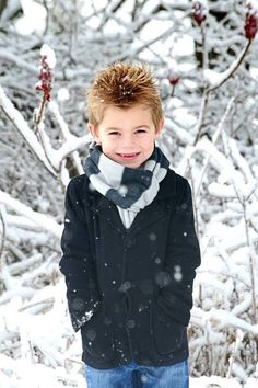 Outdoor winter photo of my five year old boy