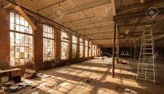 gritty abandoned factory interior