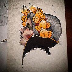 Regardez cette photo Instagram de @johnyblackboots • 1,258 J'aime woman #illustration #woman #woman #girl #neotraditionel#neotraditional #neo traditionel #draw #drawing #tattoo#ink #tattooed #inked
