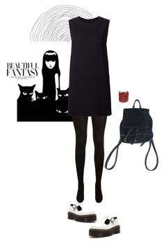 """""""Emily the Strange; Emily the Strange"""" by syarina ❤ liked on Polyvore featuring EMILY THE STRANGE, Yves Saint Laurent, Rosetta Getty and Dr. Martens"""