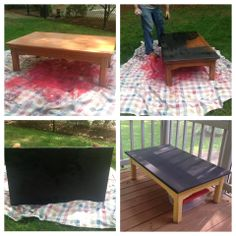 DIY chalkboard coffee table, crafts table, paint table, kids table.  chalkboard spray paint and regular spray paint.  rustoleum chalkboard spray paint for top.  yellow paint for bottom.  old coffee table. upcycled coffee table.  arts and crafts table.