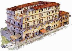 Classical Architecture, Historical Architecture, Ancient Architecture, Art And Architecture, Ancient Roman Houses, Ancient Buildings, Ancient Rome, Roman Era, Roman City