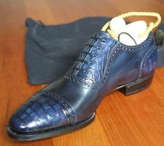 Alligator Leather Modern Classic Lace up Leather Lined Dress Shoes Hot Shoes, Blue Shoes, Men's Shoes, Me Too Shoes, Mens Shoes Boots, Shoe Boots, Gentleman Shoes, Mens Fashion Shoes, Dream Shoes