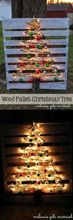Christmas DIY Outdoor Decor Ideas That Wow Your Neighbors This Year! - 35 + Christmas DIY Outdoor Decor Ideas your neighbors this year Wow Christmas Outdoor Neighbors Ide - Pallet Christmas Tree, Christmas Wood, Christmas Projects, Christmas Lights, Christmas Trees, Diy Christmas Decorations Easy, Holiday Crafts, Outdoor Decorations, Handmade Decorations