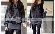 MSLG Loose Women Cotton Long Sleeve Batwing Sleeve Dress - DinoDirect.com