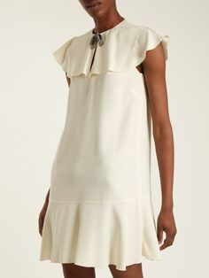 REDValentino Bow-embellished ruffled crepe dress