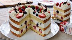 Tort cu frisca, iaurt si fructe - reteta video Dessert Cake Recipes, Easy Cake Recipes, Desserts, Arabic Sweets, Lebanese Recipes, Tart Recipes, Food Cakes, Vanilla Cake, Cake Decorating