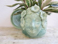 Ceramic Face Planter Garden Goddess Handcrafted by MyMothersGarden, $88.00