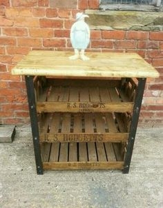 Large Industrial style butchers block kitchen display vintage traysCAN DELIVER | eBay