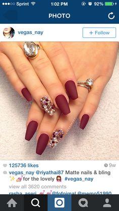 burgandy matte & bling nails