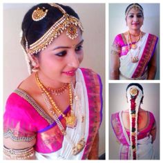 Traditional South Indian bride wearing bridal hair, saree and jewellery. Muhurat look. Makeup by Swank Studio. Find us at https://www.facebook.com/SwankStudioBangalore