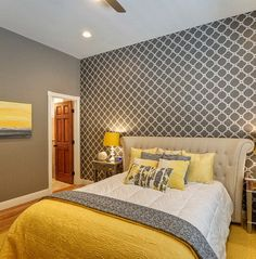 Chic Yellow And Grey Bedroom Bedroom In 2019 Gray Bedroom
